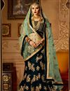 image of Velvet Fabric Teal Color Bridal Chaniya Choli With Beautiful Embroidery Work