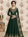 image of Dark Green Embroidered Georgette Function Wear Designer Floor Length Anarkali