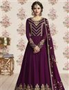 image of Embroidery Designs On Purple Georgette Function Wear Anarkali Suit