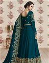 photo of Georgette Embroidered Function Wear Teal Designer Anarkali Dress