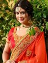 photo of Orange Embroidered Fancy Wedding Wear Saree With Blouse