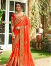 image of Orange Embroidered Fancy Wedding Wear Saree With Blouse