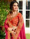 photo of Fancy Party Wear Saree In Rani With Embroidery Designs
