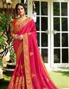 image of Fancy Party Wear Saree In Rani With Embroidery Designs