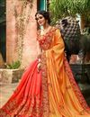 photo of Pink And Orange Fancy Fucntion Wear Saree With Embroidery Work