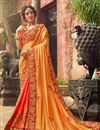 image of Fancy Party Wear Saree In Pink And Orange With Embroidery Designs