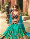 photo of Green And Sky Blue Fancy Fucntion Wear Saree With Embroidery Work