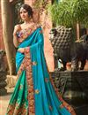 image of Green And Sky Blue Fancy Fucntion Wear Saree With Embroidery Work