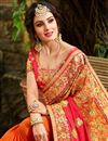 photo of Occasion Wear Red And Orange Embroidery Work On Saree In Fancy Fabric