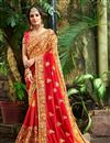 image of Occasion Wear Red And Orange Embroidery Work On Saree In Fancy Fabric