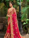 image of Embroidery Work On Rani Fancy Designer Saree With Blouse