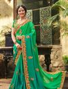 image of Fancy Green Party Wear Embroidered Saree With Blouse
