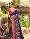 image of Embroidery Work On Blue Designer Saree In Fancy Fabric