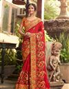image of Fancy Party Wear Saree In Red With Embroidery Designs