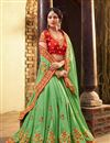 image of Green Fancy Fucntion Wear Saree With Embroidery Work