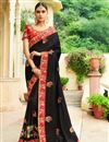 image of Black Embroidered Party Wear Fancy Fabric Saree With Enigmatic Blouse Designs
