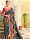 image of Grey Embroidered Party Wear Fancy Fabric Saree With Enigmatic Blouse Designs