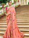 image of Pink Designer Saree In Fancy Fabric With Embroidery Work And Attractive Blouse
