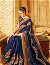 photo of Navy Blue Color Wedding Wear Designer Fancy Fabric Embroidered Saree