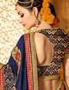 picture of Navy Blue Color Wedding Wear Designer Fancy Fabric Embroidered Saree