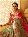 picture of Wedding Wear Embroidered Green And Pink Color Fancy Fabric Saree With Unstitched Designer Blouse