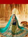 photo of Designer Green And Turquoise Color Wedding Wear Fancy Fabric Saree With Alluring Work