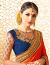photo of Creatively Embroidery Design Fancy Fabric Navy Blue And Red Color Saree With Unstitched Blouse