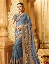 image of Grey Color Wedding Wear Designer Fancy Fabric Embroidered Saree