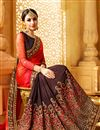 photo of Designer Brown And Red Color Wedding Wear Fancy Fabric Saree With Alluring Work
