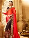 image of Designer Brown And Red Color Wedding Wear Fancy Fabric Saree With Alluring Work