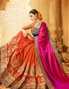 photo of Orange And Pink Color Fancy Fabric Wedding Wear Designer Saree With Embroidery Design