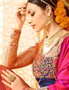 picture of Orange And Pink Color Fancy Fabric Wedding Wear Designer Saree With Embroidery Design