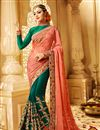 image of Creatively Embroidery Design Fancy Fabric Peach And Green Color Saree With Unstitched Blouse