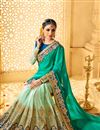 photo of Wedding Wear Embroidered Green Color Fancy Fabric Saree With Unstitched Designer Blouse