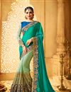 image of Wedding Wear Embroidered Green Color Fancy Fabric Saree With Unstitched Designer Blouse