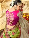 picture of Green And Beige Color Fancy Fabric Wedding Wear Designer Saree With Embroidery Design
