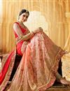 picture of Pink And Peach Color Fancy Fabric Wedding Wear Designer Saree With Embroidery Design