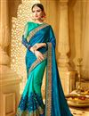image of Creatively Embroidery Design Fancy Fabric Blue And Turquoise Color Saree With Unstitched Blouse