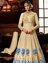 image of Wedding Special Crepe Embroidered Designer Long Anarkali Suit in Cream