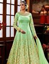 image of Wedding Special Embroidered Long Floor Length Anarkali Dress in Art Silk