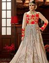 image of Wedding Special Art Silk Embroidered Designer Long Anarkali Suit in Beige