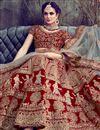 photo of Red Velvet Wedding Bridal Wear Heavy Embroidered Lehenga