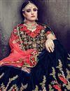photo of Eid Special Fancy Embellished Wedding Wear Lehenga Choli In Navy Blue Velvet