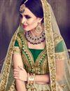 photo of Fancy Embellished Art Silk Cream Wedding Function Wear Lehenga
