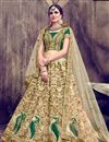 image of Fancy Embellished Art Silk Cream Wedding Function Wear Lehenga