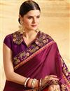 photo of Burgundy And Peach Fancy Function Wear Embroidered Half Half Saree