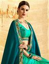 photo of Embroidery Work On Chiffon And Jacquard Teal Designer Half Half Saree