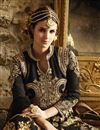 picture of Embroidered Banglori Silk And Georgette Fabric Anarkali Salwar Suit in Black Color