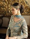 picture of Wedding Wear Blue Color Designer Palazzo Salwar Kameez in Net And Satin Fabric