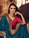 photo of Fancy Fabric Party Style Designer Embroidered Saree In Teal